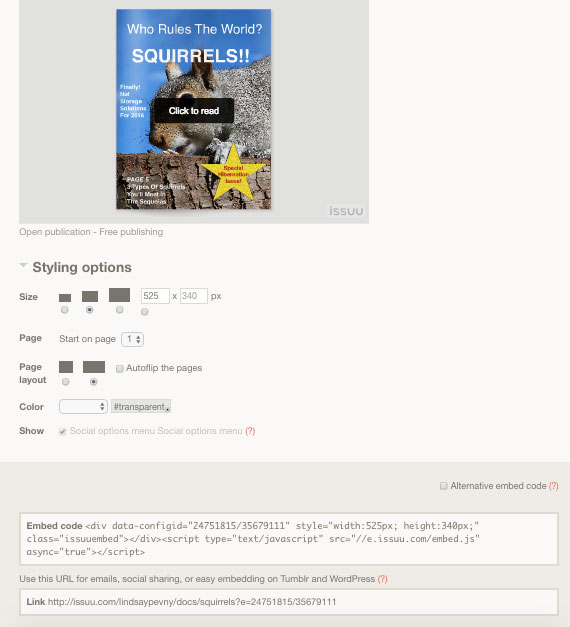 Options for Embedding WordPress Issuu flipbooks